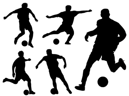 Football players silhouette in different poses and attitudes