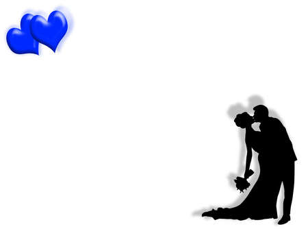 engagement silhouette: Wedding background with couple kissing and hearts Stock Photo