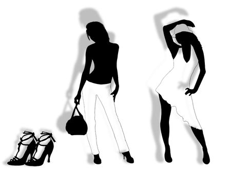Models in different poses with shoes on the background
