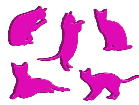 typical: Illustration about funny cats silhouette in typical poses Stock Photo