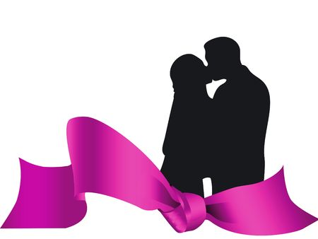 lovers kissing: Couple lovers kissing on a colorful decoration