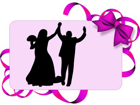 infatuation: Man and woman marrying on a decoration card