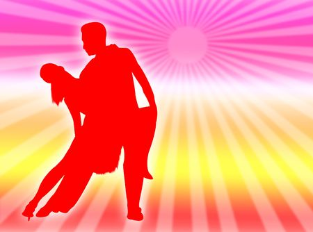 Couple dancing together in a colorful rainbow