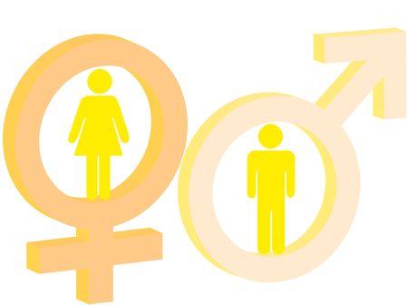 Signo de masculino y femenino como s�mbolo de hombre y mujer  Foto de archivo - 7916275