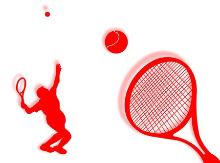 coordination: Tennis players with racket on the background Stock Photo