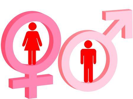 Signo de masculino y femenino como s�mbolo de hombre y mujer  Foto de archivo - 8144985