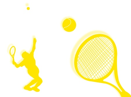Tennis players with racket on the background photo