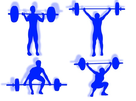 constancy: Man lifting weights as symbol of sports competition sport Stock Photo