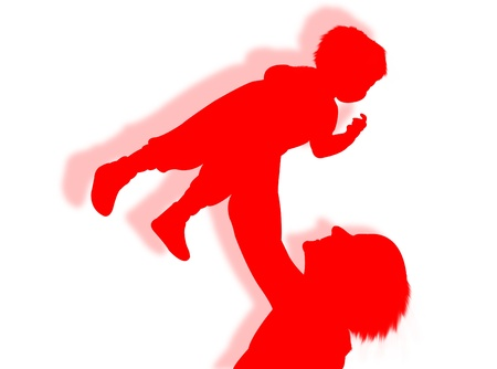 procreation: Mother and her son in silhouette as symbol family Stock Photo