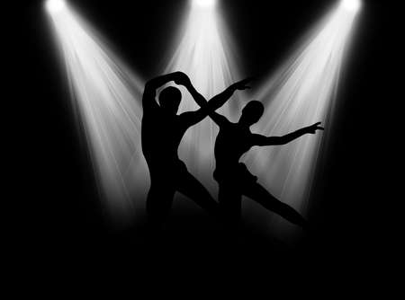 bailarinas: Pareja bailando en la brillante luz de foco en el escenario