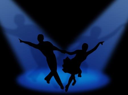 latin dance: Couple dancing latin dance in the spotlight