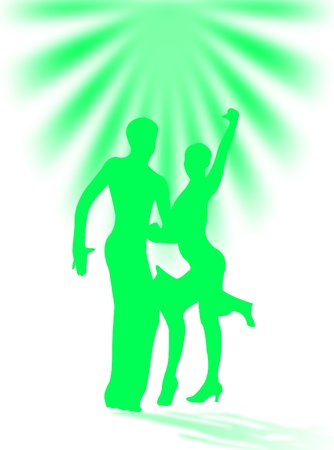 Man and woman dancing latin dance with shadow