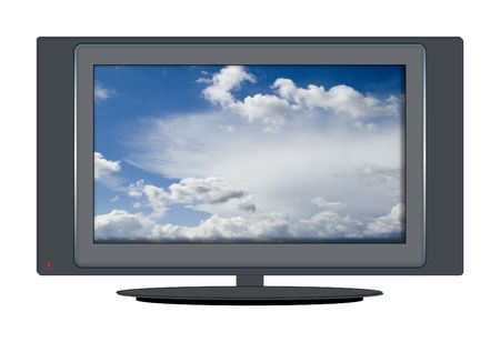 widescreen: Isolated illustration of wide-screen high-definition television with skyscape on screen