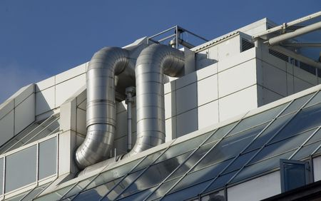 duct: Air conditioning ducting on corporate office rooftop