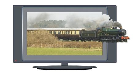 appearing: Isolated illustration of wide-screen high-definition television with image of steam train appearing out of screen