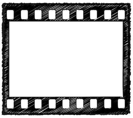 Sketch style artwork of 35mm film frame with sprocket holes originally drawn in Illustrator, so the outline is crisp. Standard frame ratio.  photo