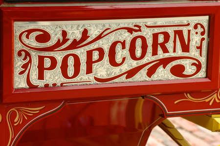 merchant: Colorful popcorn vendors cart