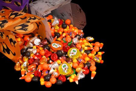 trick: Colorful halloween candy in chinese containers