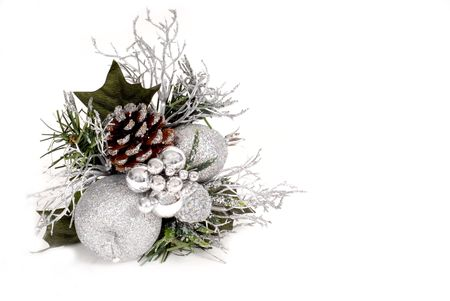 White, silver and green Christmas Ornament with pine cone isolated on white