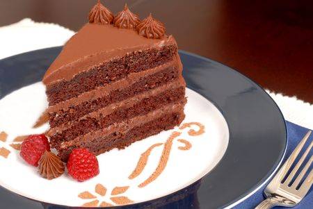 Delicious 4 layer chocolate cake with raspberries on a white and blue plate with cocoa pattern
