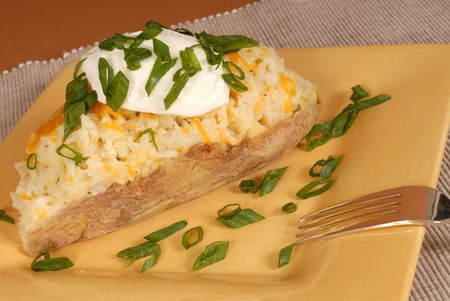 twice: A twice baked potato with scallions, cheese and sour cream