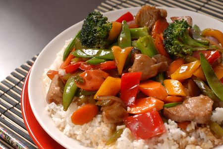 A close up of a plate of stir fry pork with vegetables