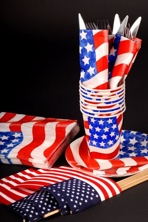 A 4th of July tablesetting with cups, napkins, flags and silverware Stock Photo - 1185862