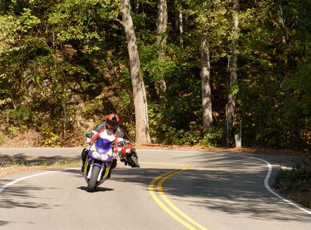 forested: Two motorcyclist riding along a winding forested road