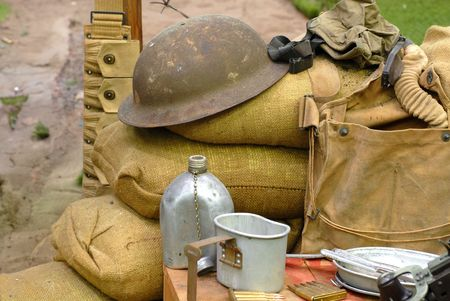 Several items displayed from a World War 2 soldier