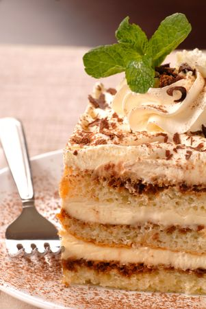 A piece of tiramisu with mint and cocoa powder
