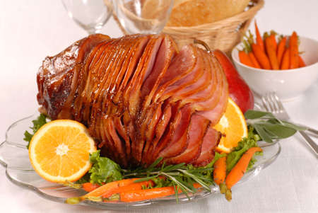 glazed: Brown sugar and honey glazed ham with carrots, herbs, fruit and bread