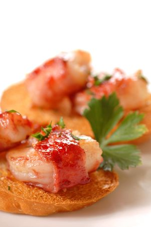 shrimp: Bacon wrapped shrimp crostini with a cranberry apple glaze