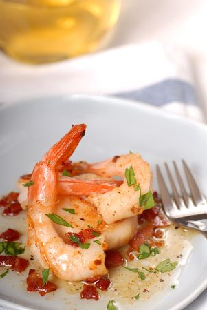 Fresh shrimp and scallops served with a bacon vinniagrette