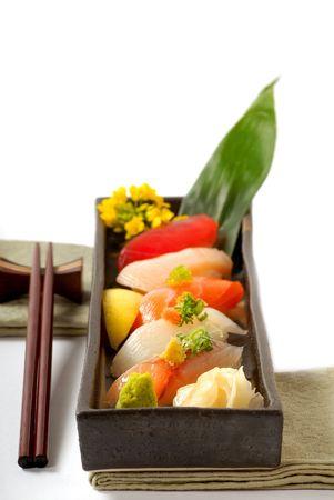 Fresh Japanese sushi nigiri with wasabi photo