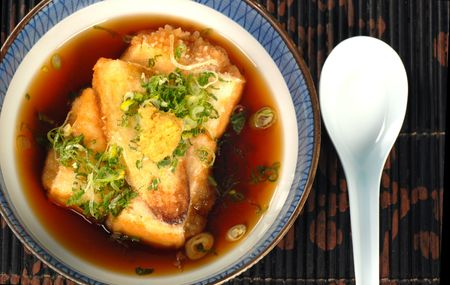 broth: Delicious bowl of tofu and miso broth soup