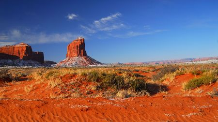 Dramatic rock formations in the Navajo park Monument Valley photo