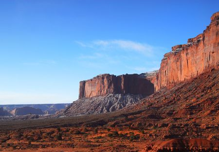 Rock formations found in the Navajo tribal lands of Monument Valley photo