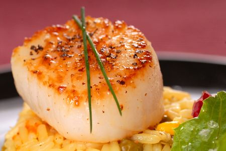 Freshly seared scallop on a bed of saffron rice with chives