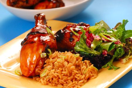 balsamic: Grilled chicken with a honey and balsamic glazed asian chicken with brown rice and salad Stock Photo