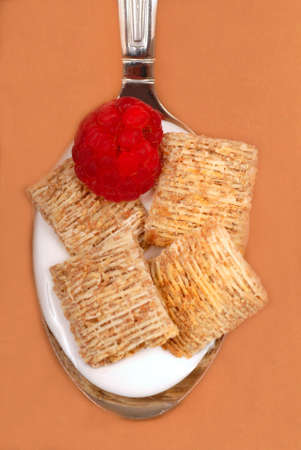 Spoonful of whole wheat cereal with raspberry Stock Photo - 3500372