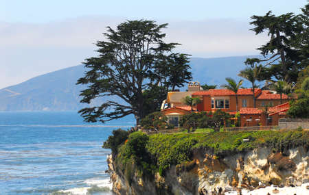 Luxury home perched on a cliff along the central California coast.