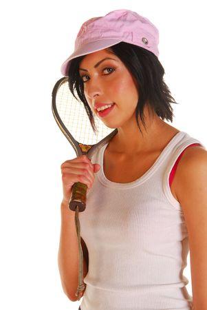 racquetball: Atractivo latino encajar la celebraci�n de una joven mujer racquetball raqueta despu�s de una sesi�n de ejercicios Foto de archivo