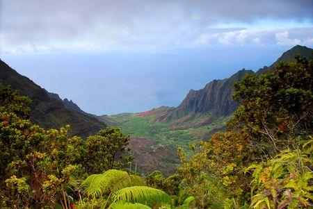 na: View of the rugged Na Pali coast of Kauai Hawaii