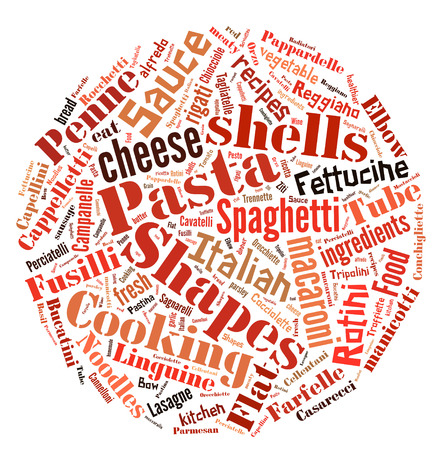 spaghetti bolognese: Pasta Word Cloud describing all types of pasta and sauces Stock Photo