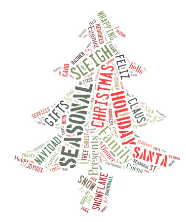eggnog: Word Cloud that shows words dealing with the Christmas Season in the shape of a Christmas Tree Stock Photo