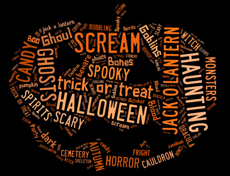 broomstick: Word Cloud showing words dealing with Halloween in the shape of a jack-o-lantern on a black background