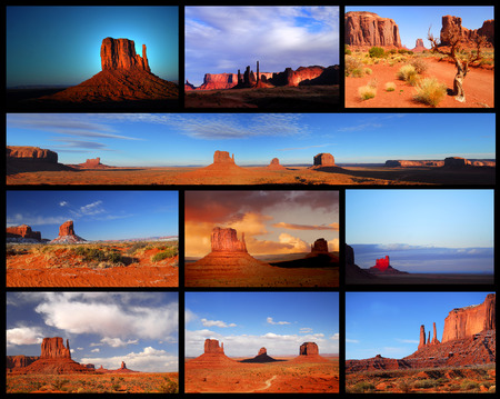cloud formation: Collage showing different views and formations in Monument Valley