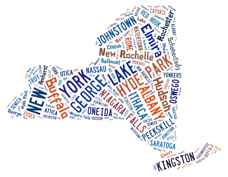 new york map: Word Cloud shaped like the state of New York showing the cities in the state of New York