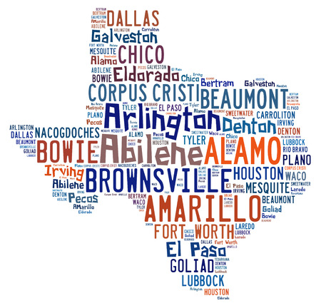 Word cloud shaped like Texas with the names of cities found in Texas photo