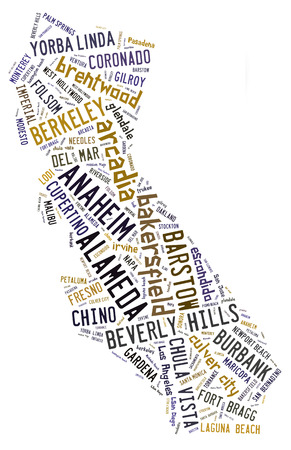 Word Cloud in the shape of California showing cities in California photo